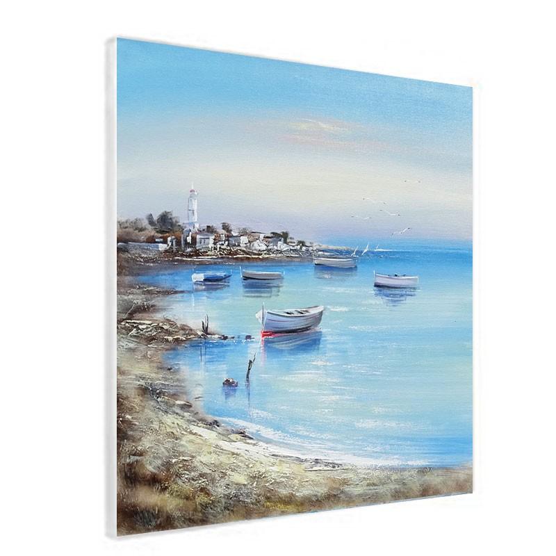 """Tableaux contemporains """" mer bretonne """", 80x80."""