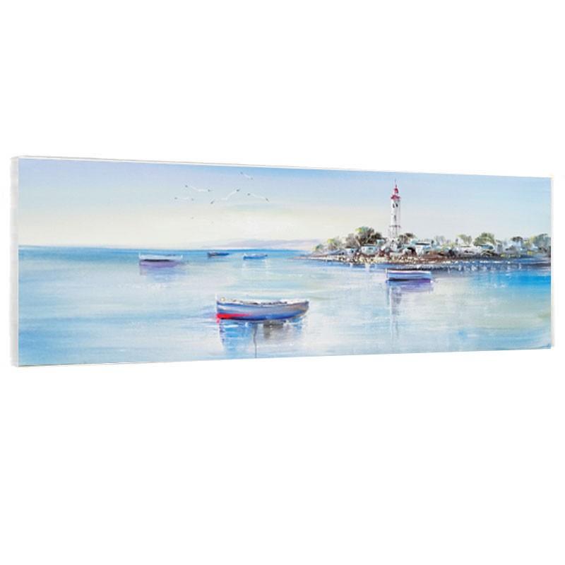 """"""" mer et son phare """", Tableau contemporain marin,40x120."""