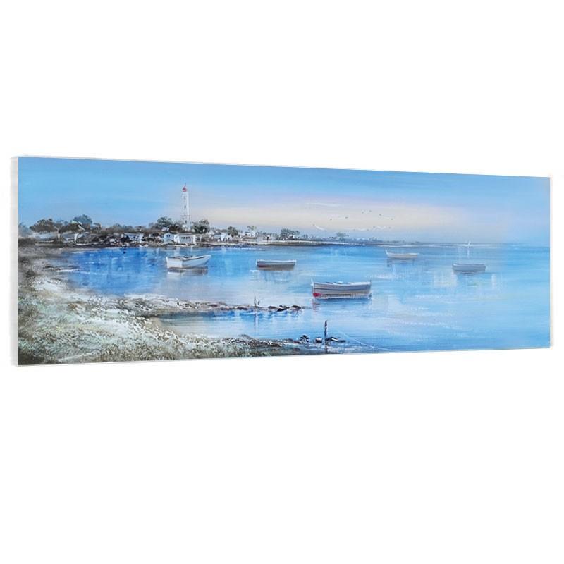 """ Bord de mer "", Tableau contemporain marin,50x150cm."
