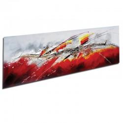 """"""" FUSION TERRE ET FEU """", tableau contemporain abstrait 50x150."""
