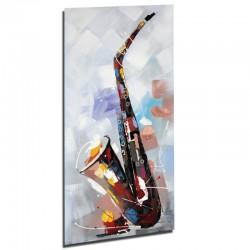 """"""" saxophone"""", tableau contemporain musique 60 x 120."""