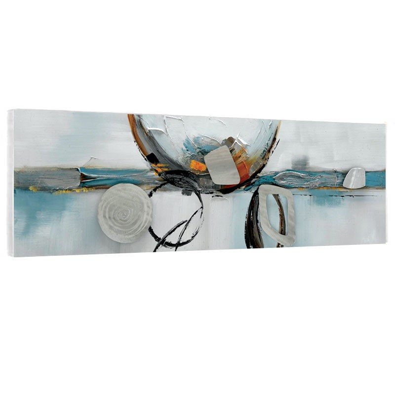 """"""" Géométrique bleu/argent  """", tableau contemporain abstrait 50x150."""