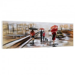 """Promenade à LONDRES "", Tableau contemporain urbain, 50x150."