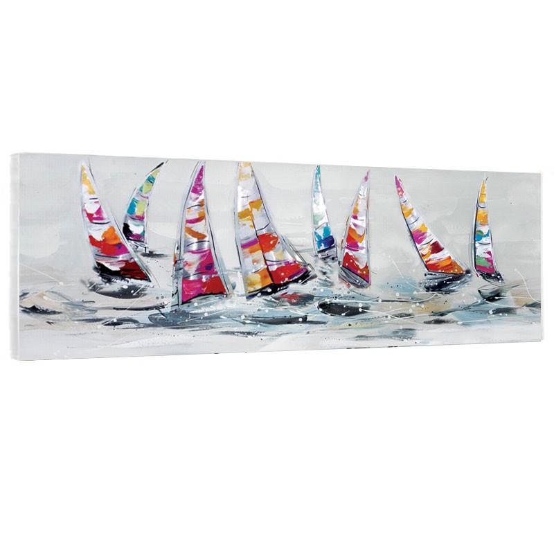 """"""" Voiliers colorés, voiles métal  """", tableau contemporain marin 50x150."""