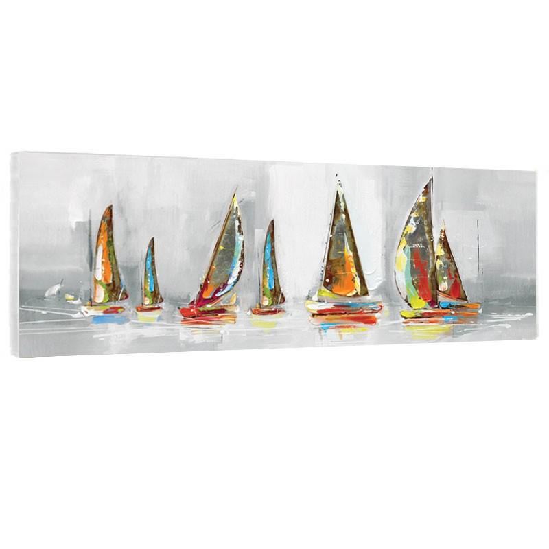 """""""Voiliers métal colorés"""", tableau contemporain marin"""