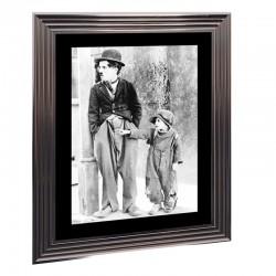 Image encadrée N&B, Charlie Chaplin, 50x70