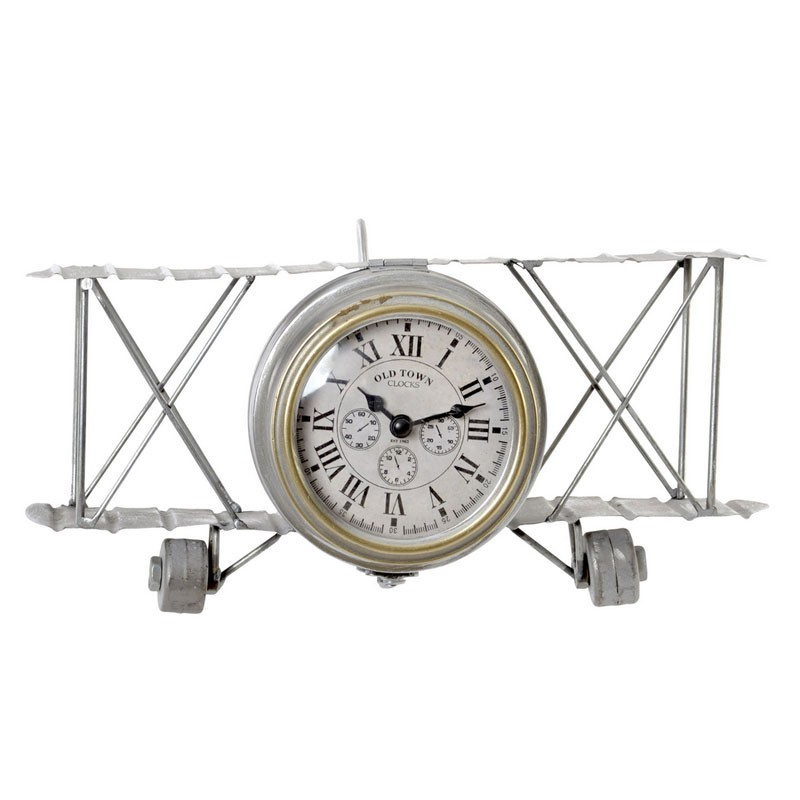 horloge vintage en m tal avion poser argent vielli. Black Bedroom Furniture Sets. Home Design Ideas