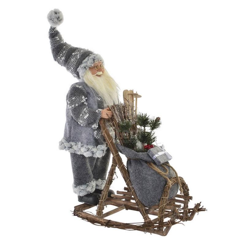 Déco Noel, Père Noel et traineau gris