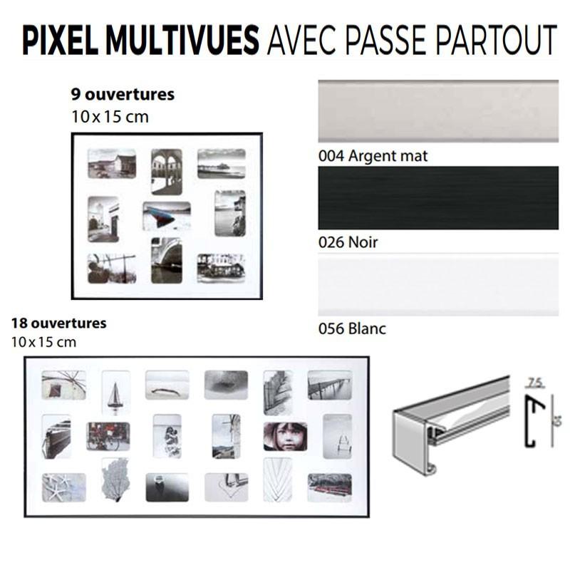 Cadre Nielsen alu gamme PIXEL multi-vues