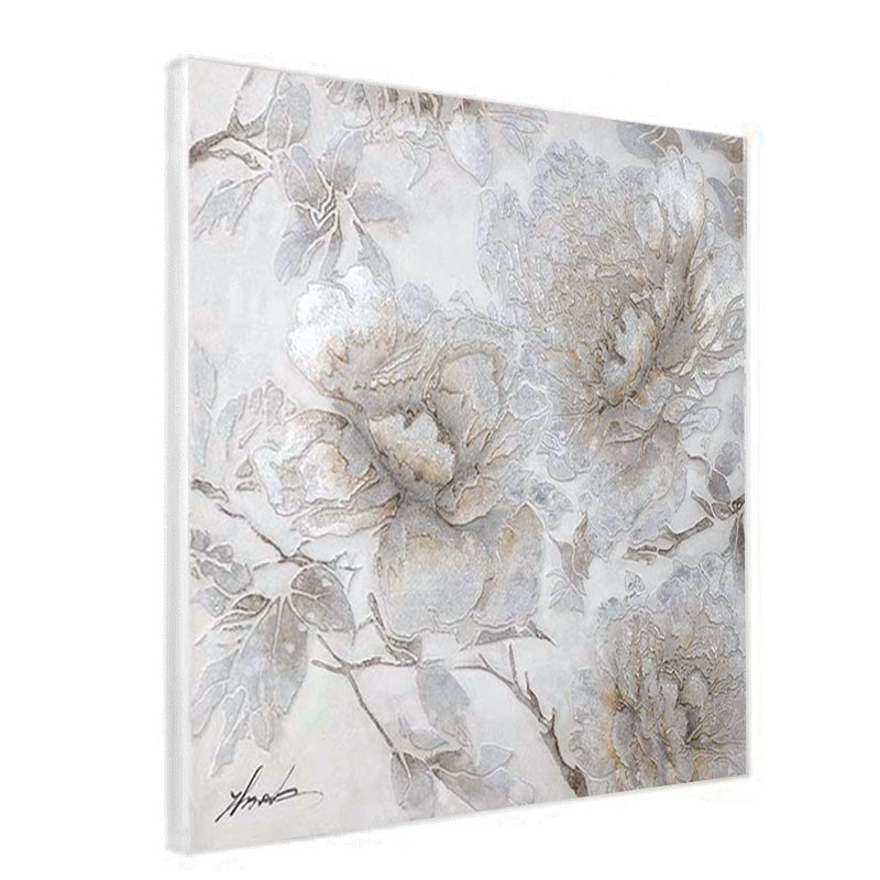 """Tableau contemporain """" Fleurs charme """", 80x80"""