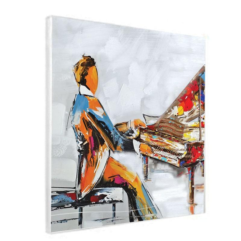 """"""" Pianiste 3 """", Tableau contemporain musique,60x60"""