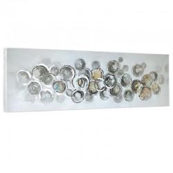 """"""" Cercles argent """", Tableau contemporain design 50x150"""