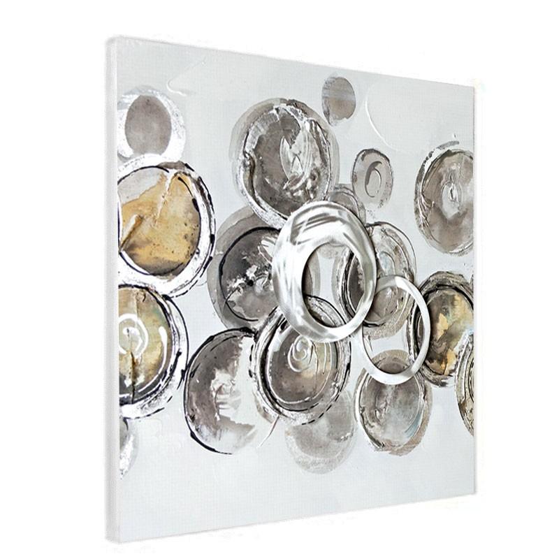 """""""cercles gris/métal """", Tableau contemporain design 60x60"""