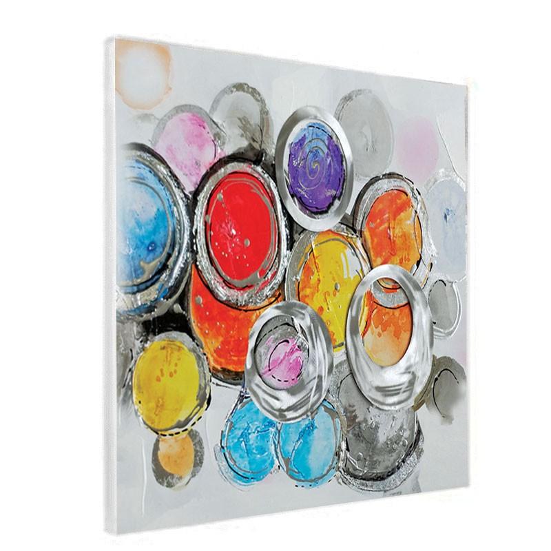 """"""" Cercles colorés """", Tableau contemporain abstrait,60x60"""