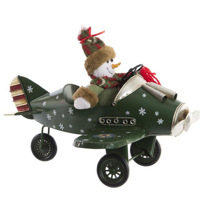 Déco noël, Avion et Bonhomme de neige, métal vert