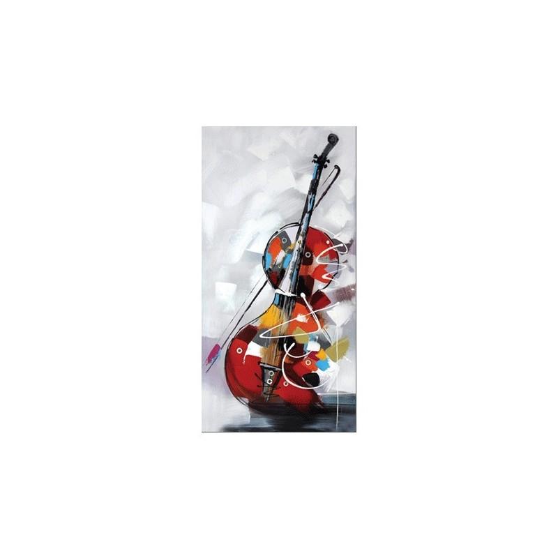 """"""" violoncelle """", Tableau contemporain musique, 60 x 120."""