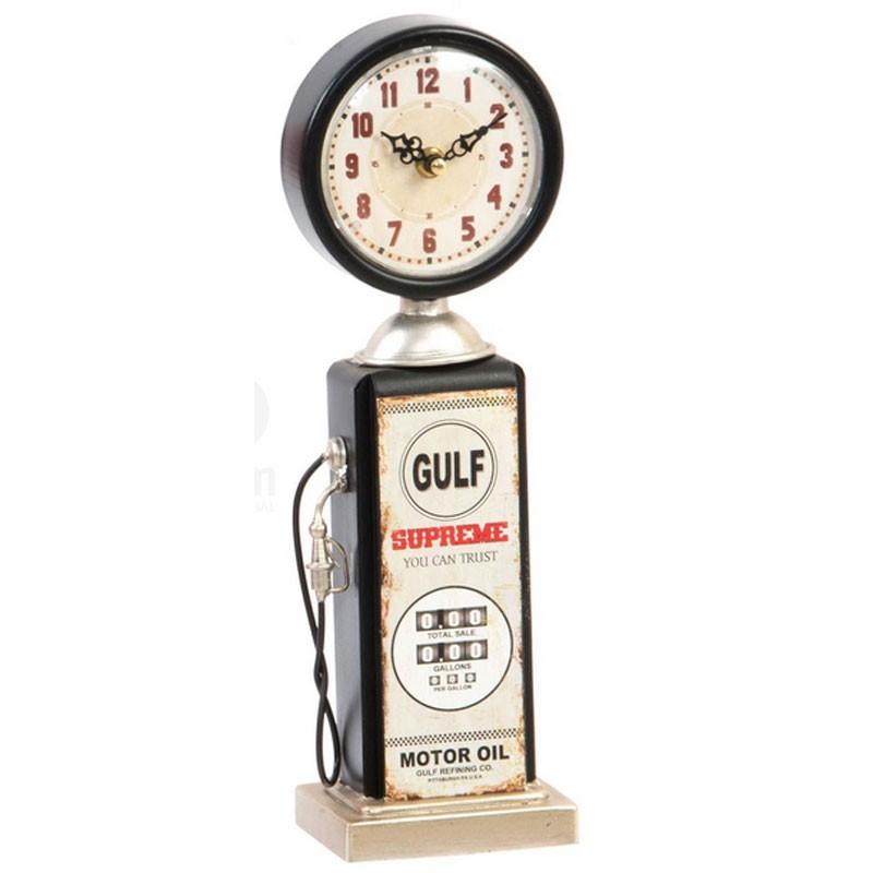 horloge vintage poser pompe essence en m tal beige et noir. Black Bedroom Furniture Sets. Home Design Ideas