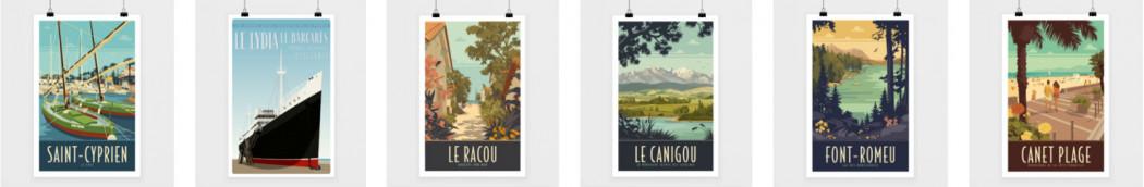 Travel poster vintage image retro encadrée tirée sur papier fine art,